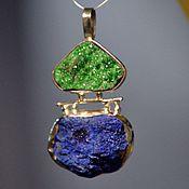 Украшения handmade. Livemaster - original item Pendant in uvarovite and azurite. green pendant. Blue pendant. Handmade.