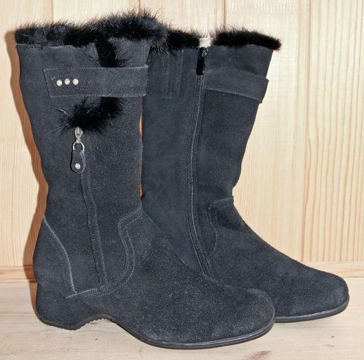 Обувь ручной работы. Ярмарка Мастеров - ручная работа. Купить Зимние замшевые сапоги. Handmade. Черный, девушке, замша, обувь