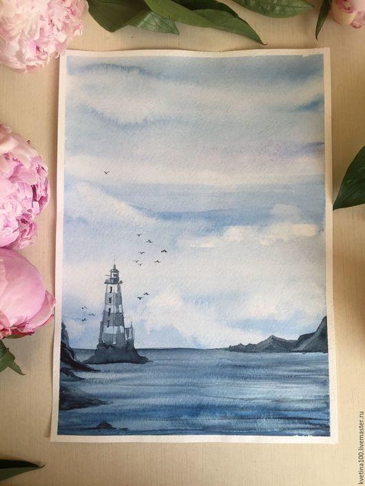 """Пейзаж ручной работы. Ярмарка Мастеров - ручная работа. Купить Акварельная зарисовка """"Умиротворение"""". Handmade. Голубой, картина, пейзаж, вода"""