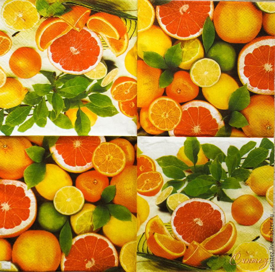Салфетки для декупажа цитрусы лимоны апельсины, Салфетки, Москва, Фото №1