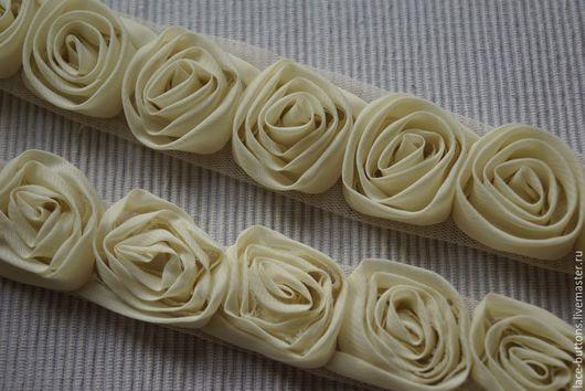 Шитье ручной работы. Ярмарка Мастеров - ручная работа. Купить Объемные цветы слоновой кости 3,5см. Handmade.