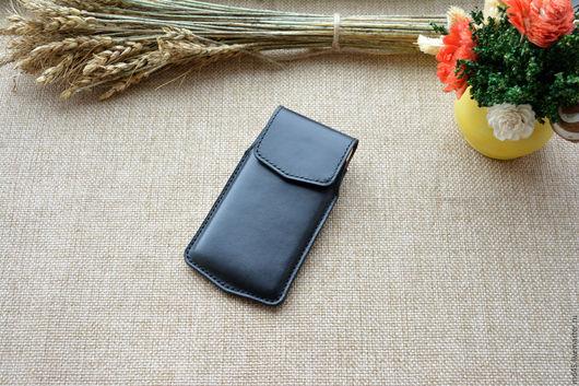Для телефонов ручной работы. Ярмарка Мастеров - ручная работа. Купить Кожаный чехол для телефона. Handmade. Черный, кожаный чехол