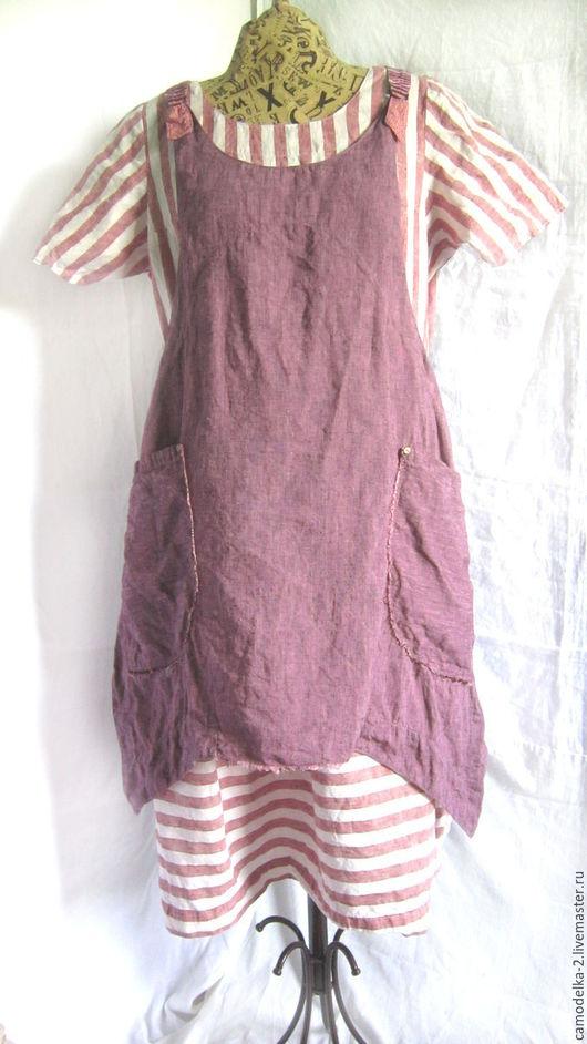 Платья ручной работы. Ярмарка Мастеров - ручная работа. Купить платье длинное льняное красивое- прекрасивое и фартук с  карманами. Handmade.