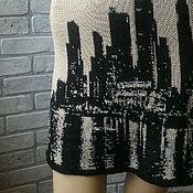 Авторское вязаное платье Ночной город