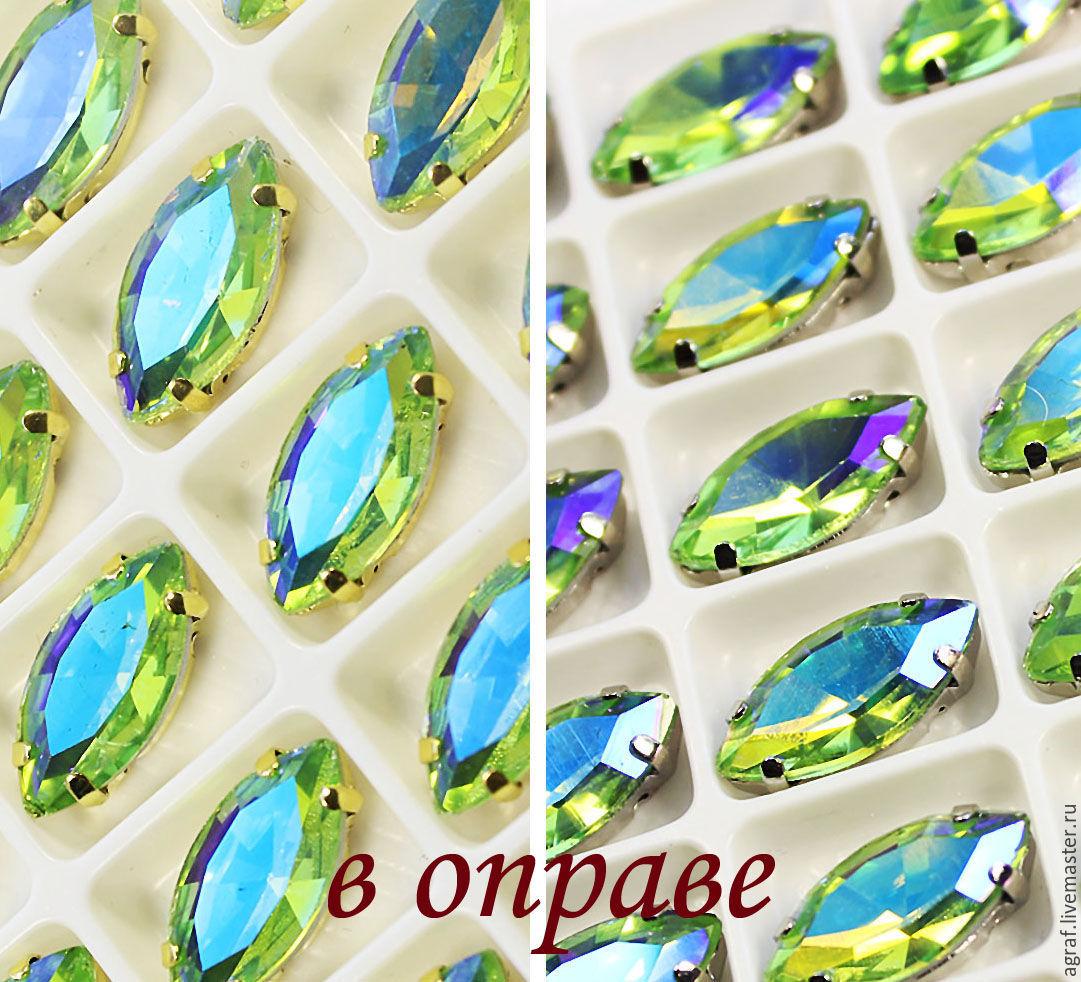 Glass rhinestone 15h7 mm Peridot AB silver and gold rims, Rhinestones, Solikamsk,  Фото №1