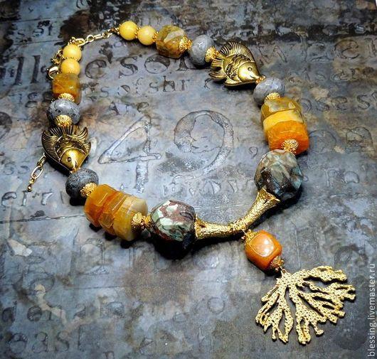 Колье `Золотая лагуна`. Поделочные камни. Ярмарка Мастеров. Solar wind