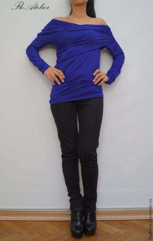 Блузки ручной работы. Ярмарка Мастеров - ручная работа. Купить Синяя женская блузка/Блузка с длинными рукавами/F1287. Handmade. Рубашка