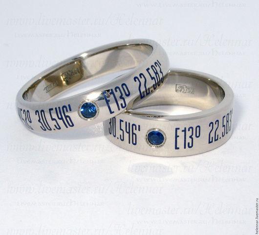 Свадебные украшения ручной работы. Ярмарка Мастеров - ручная работа. Купить Обручальные кольца с геометками. Handmade. Тёмно-синий, геометка