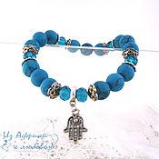 Украшения handmade. Livemaster - original item Turquoise bracelet charm Hamsa (Hand of Fatima). Handmade.