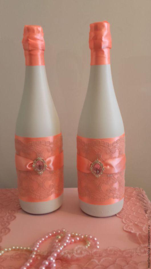 Свадебные аксессуары ручной работы. Ярмарка Мастеров - ручная работа. Купить свадебные бутылки. Handmade. Коралловый, свадебные аксессуары