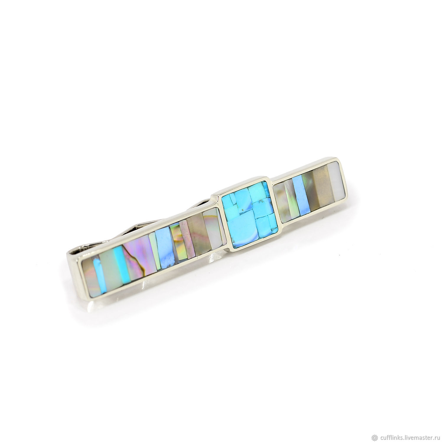 TIE CLIP - Turquoise and mother of Pearl.The tie clip in gift, Tie clip, Moscow,  Фото №1