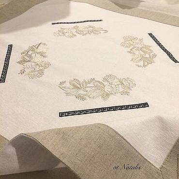 Для дома и интерьера ручной работы. Ярмарка Мастеров - ручная работа Льняная салфетка с вышивкой Villeroy & Boch AUDUN FERME-2. Handmade.