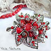 "Украшения handmade. Livemaster - original item Brooch ""Red bilberry bouquet"". Handmade."