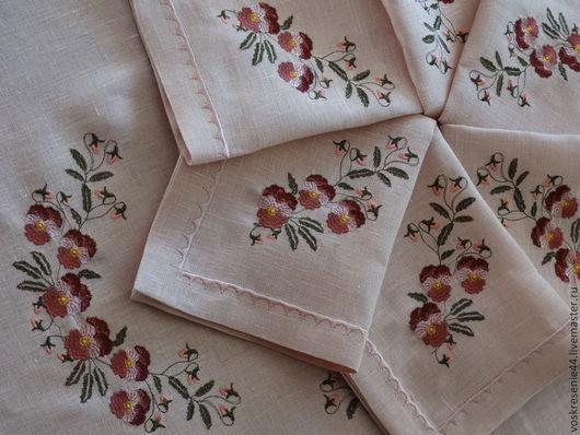 Текстиль, ковры ручной работы. Ярмарка Мастеров - ручная работа. Купить Скатерть льняная с салфетками Ворожея. Handmade. Розовый, фиалки