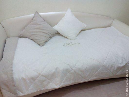 Текстиль, ковры ручной работы. Ярмарка Мастеров - ручная работа. Купить Именное льняное покрывало 120х220 см. Handmade. Белый