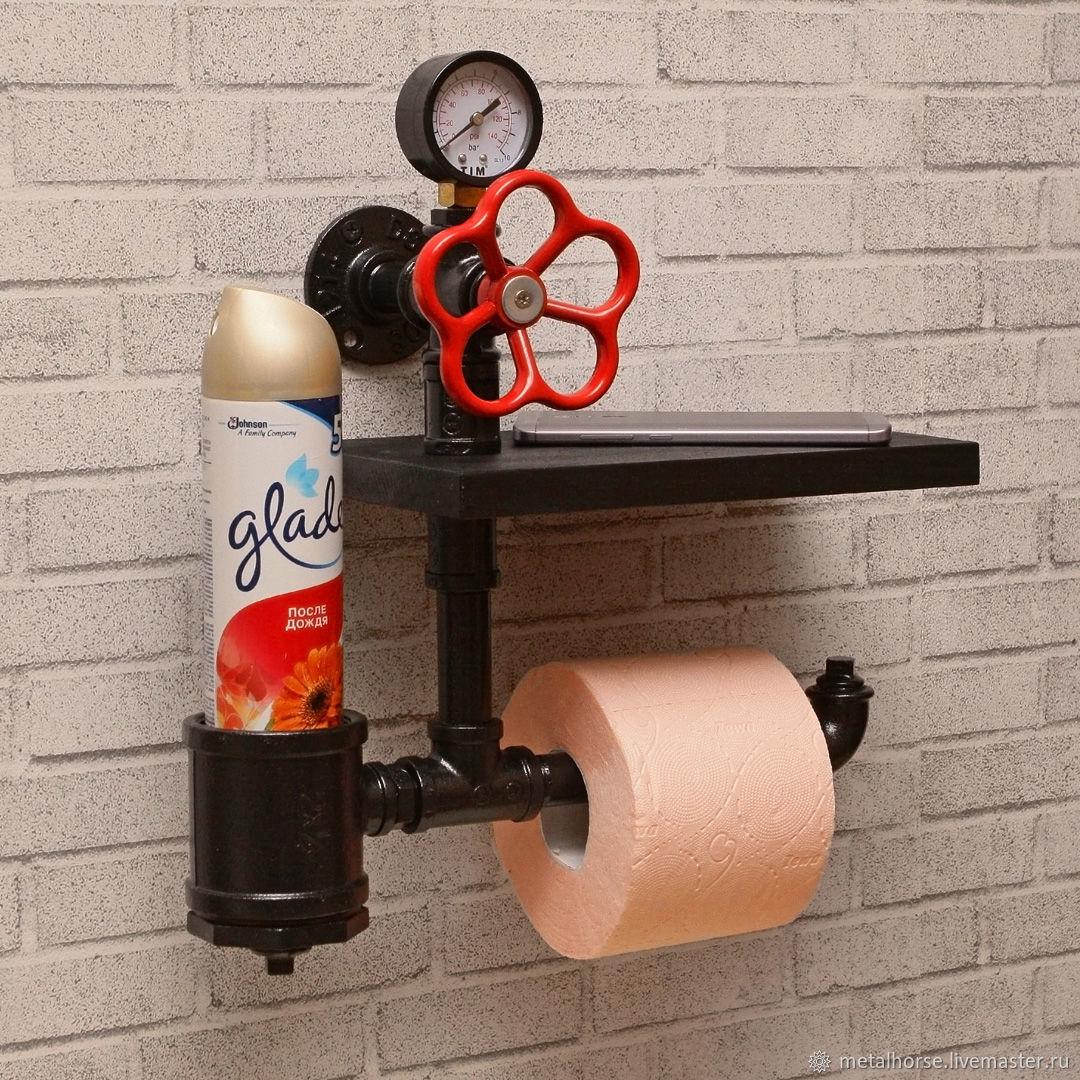 Держатель для туалетной бумаги с полкой в стиле лофт, стимпанк, ретро, Держатели, Москва,  Фото №1