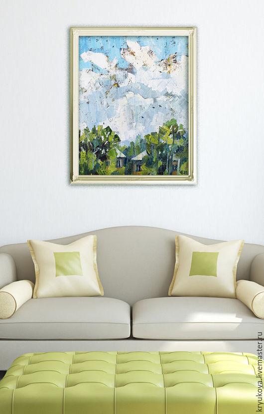 Картина маслом летний пейзаж Будет гроза Летний пейзаж маслом Городской пейзаж картина Картина город Гроза дождь Летняя гроза