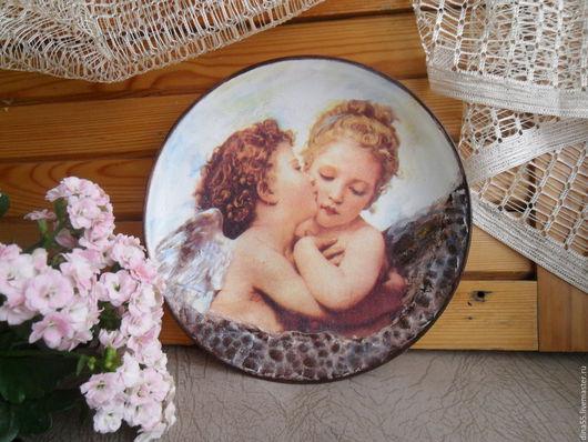 Подарки для влюбленных ручной работы. Ярмарка Мастеров - ручная работа. Купить Декоративная тарелка Влюбленные ангелы. Handmade. Разноцветный, интерьер