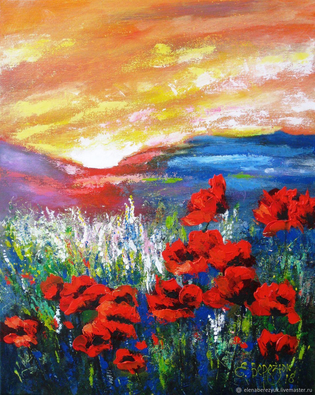 patrón de flores de amapolas en el lienzo en el bastidor para el ...