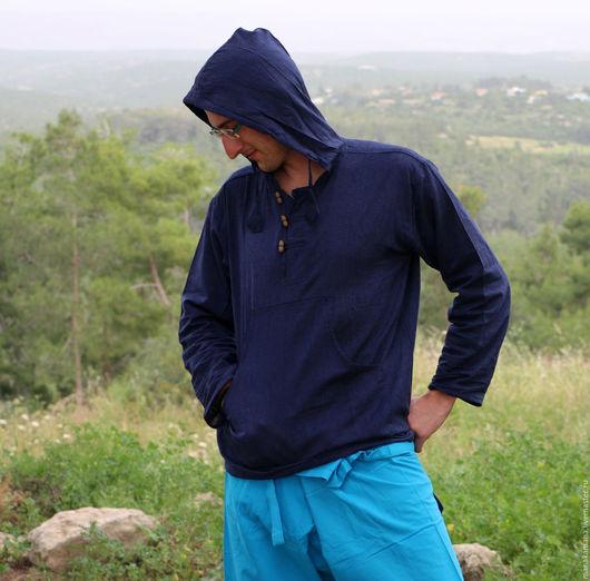 """Для мужчин, ручной работы. Ярмарка Мастеров - ручная работа. Купить Темно-синяя Рубашка с капюшоном """"Нави"""". Handmade. ом"""