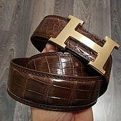 Аксессуары handmade. Livemaster - original item Men`s belt, made of the most expensive, abdominal part of crocodile skin. Handmade.