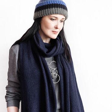 Аксессуары ручной работы. Ярмарка Мастеров - ручная работа Темно-синий кашемировый шарф. Handmade.