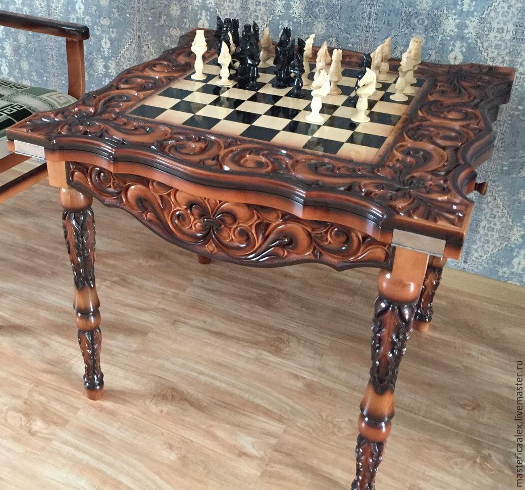 стол 3 в 1 шахматы нарды шашки ручной работы купить в интернет