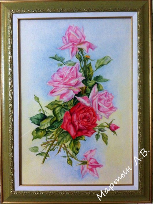 Картины цветов ручной работы. Ярмарка Мастеров - ручная работа. Купить Утренние розы. Handmade. Картина с цветами, акварельная живопись