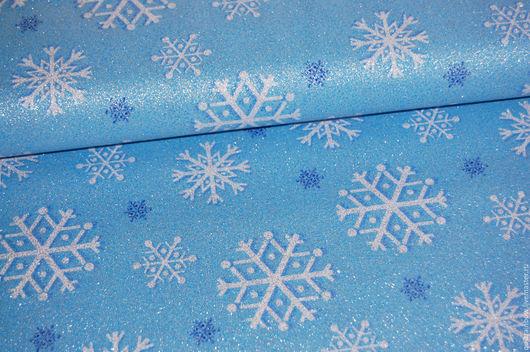 """Шитье ручной работы. Ярмарка Мастеров - ручная работа. Купить Хлопок """"Снежинки"""" (голубой фон). Handmade. Голубой, ткани"""