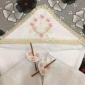 Крестильное полотенце ручной работы. Ярмарка Мастеров - ручная работа Крестильное полотенце: Махровая крыжма пелёнка для крещения с уголком. Handmade.
