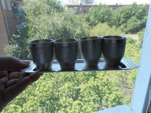 Винтажная посуда. Ярмарка Мастеров - ручная работа. Купить набор рюмок на подносе мельх. Handmade. Стопки, серебряный