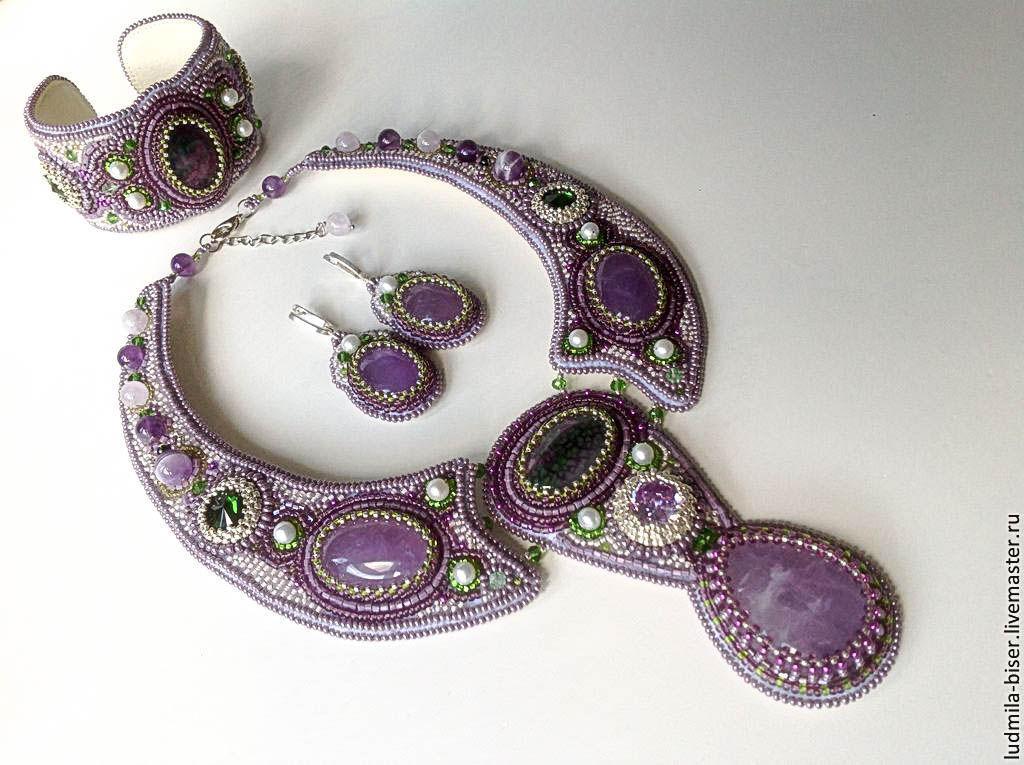 "Jewelry Sets handmade. Livemaster - handmade. Buy Комплект ""Лаванда Прованса"".Beads, embroidery, amethyst, prom, Czech glass beads"
