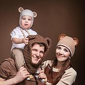 Аксессуары ручной работы. Ярмарка Мастеров - ручная работа Семейный комплект вязаных шапочек. Handmade.