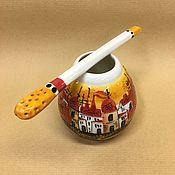 Посуда handmade. Livemaster - original item Calabas Town with Bombilia porcelain (author painting). Handmade.