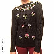 Одежда handmade. Livemaster - original item Women`s knitted jumper with knitting needles Wonderful garden, hand embroidery. Handmade.