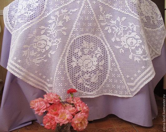 Текстиль, ковры ручной работы. Ярмарка Мастеров - ручная работа. Купить восьмиугольная скатерть с розами. Handmade. Белая скатерть крючком