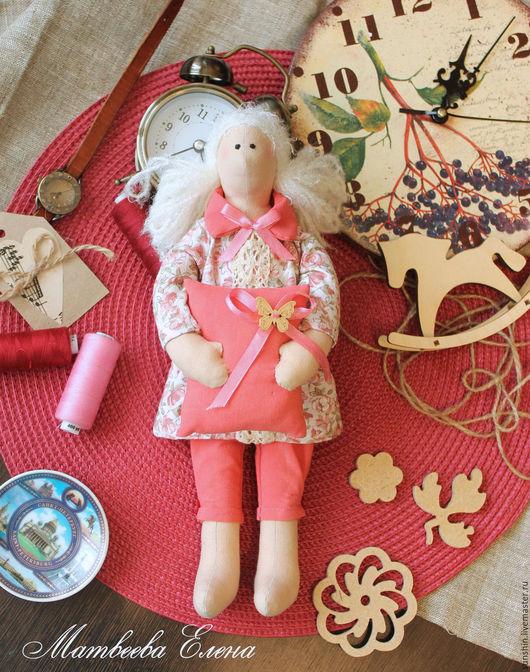 Куклы Тильды ручной работы. Ярмарка Мастеров - ручная работа. Купить Текстильная куколка сплюшка. Handmade. Коралловый, тильда, сплюшка