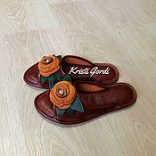 Обувь ручной работы. Ярмарка Мастеров - ручная работа Домашние тапочки Розы. Handmade.