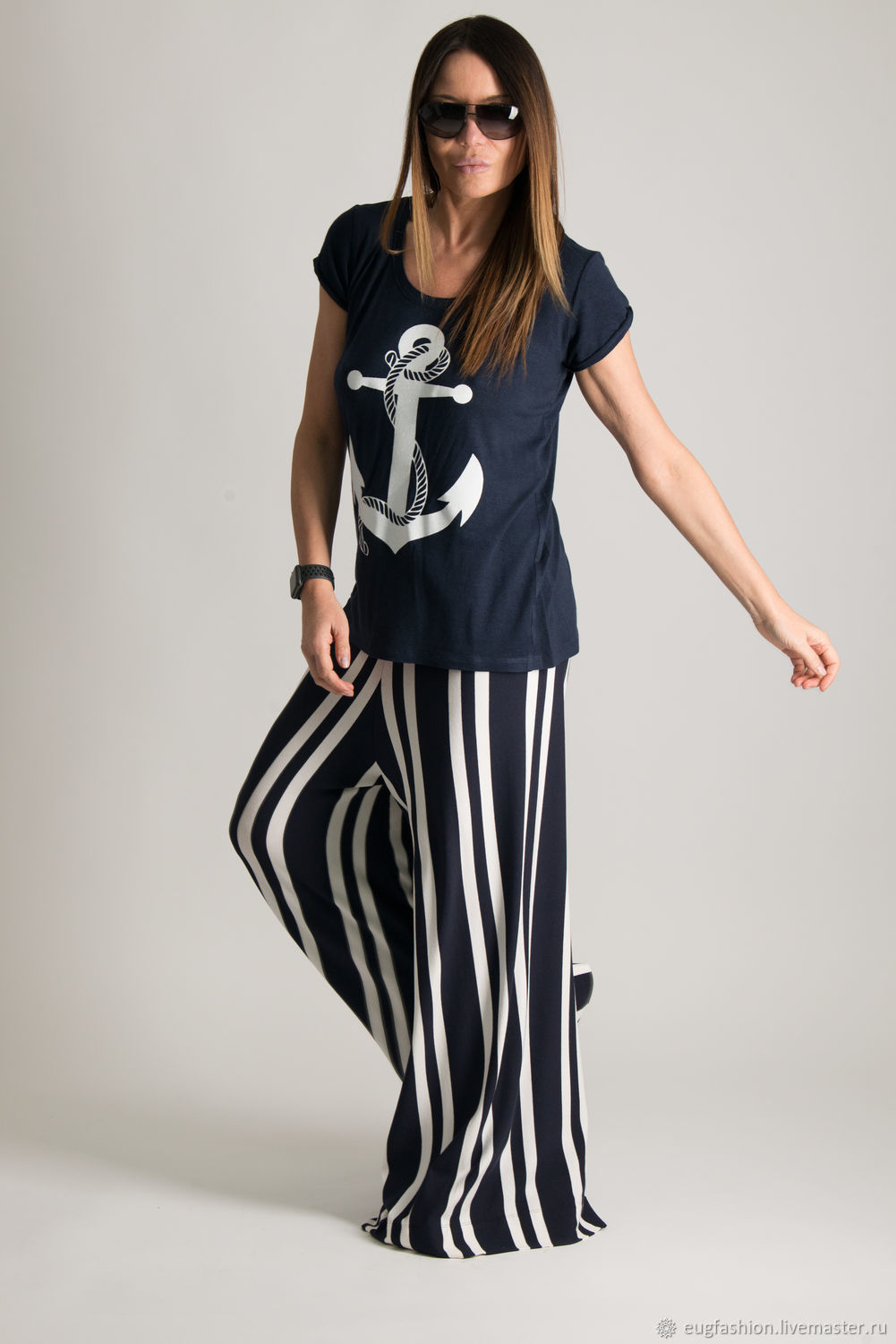 Loose, summer trousers with sea print -PN0068TR, Pants, Sofia,  Фото №1