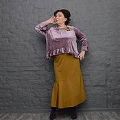 Одежда handmade. Livemaster - original item The skirt is a dark Golden with undercut and a flounce of Art.1588. Handmade.