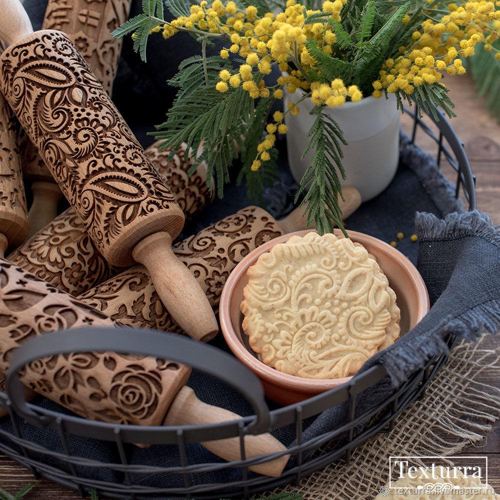 PAISLEY2 wooden gingerbread/honeycake mold, Rolling pins, St. Petersburg,  Фото №1