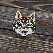 Украшения handmade. Livemaster - original item Wooden Cat icon. Handmade.