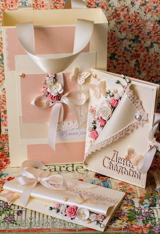Свадебные открытки ручной работы. Ярмарка Мастеров - ручная работа. Купить Свадебный комплект 2 (открытка и конверт для денег в пакете). Handmade.