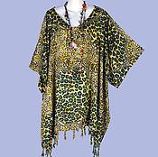 Одежда ручной работы. Ярмарка Мастеров - ручная работа Летняя туника платье пончо, батик, свободный леопард. Handmade.