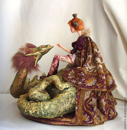 Коллекционные куклы ручной работы. Ярмарка Мастеров - ручная работа. Купить Принцесса и дракон.. Handmade. Бордовый, Ладолл