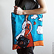 Bags & Accessories handmade. Order Bag-string bag 'the girl with the suitcase'. Crowhouse. Livemaster. Turquoise