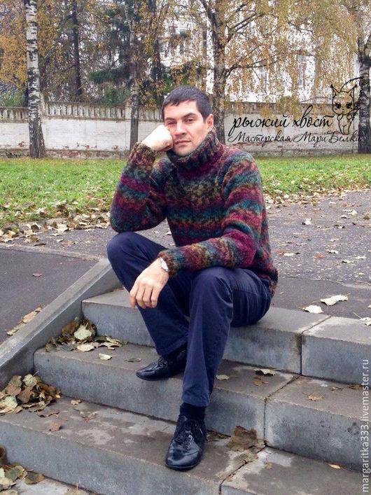 Для мужчин, ручной работы. Ярмарка Мастеров - ручная работа. Купить Мужской свитер Шервудский лес. Handmade. Комбинированный