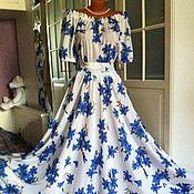 Одежда ручной работы. Ярмарка Мастеров - ручная работа Штапельное платье в пол Колокольчики. Handmade.