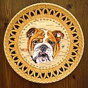 Картины и панно ручной работы. Ярмарка Мастеров - ручная работа Английский бульдог - картина на берестяной тарелке. Handmade.
