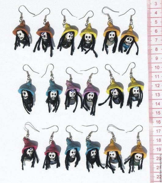 Серьги ручной работы. Ярмарка Мастеров - ручная работа. Купить Серёжки-лица в стиле раста со шляпами. Handmade. Комбинированный